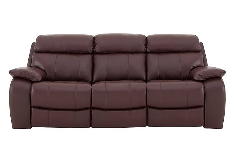 Moreno 3 Seater Leather Recliner Sofa in An-751b Burgundy on Furniture Village