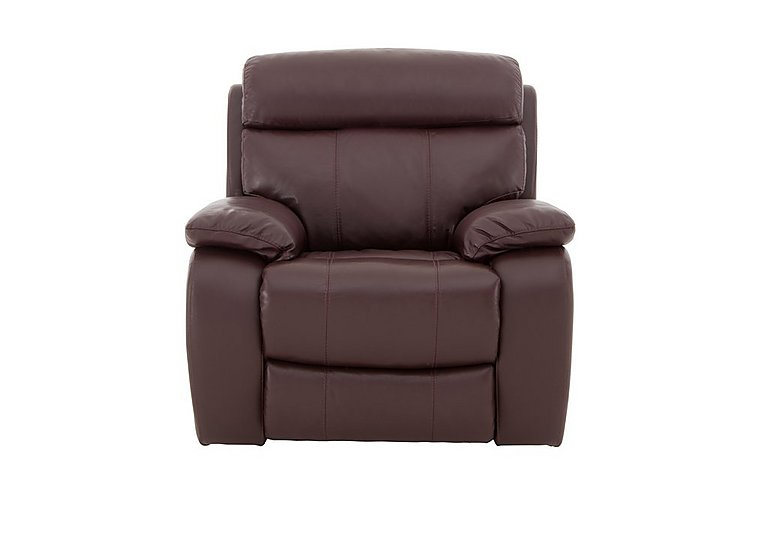 Moreno Leather Recliner Armchair in An-751b Burgundy on Furniture Village