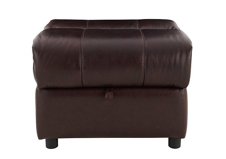 Moreno Leather Storage Footstool in Go-194e Black Cherry on Furniture Village