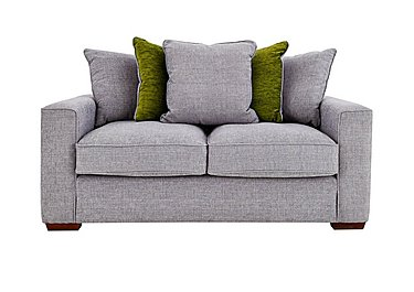 Dune 2 Seater Fabric Pillow Back Sofa in Barley Silver-Lime Dk Feet on Furniture Village