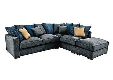 Dune Fabric Corner Pillow Back Sofa with Footstool in Barley Graphite-Teal Dk Feet on Furniture Village