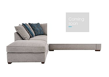 Dune Fabric Corner Pillow Back Sofa with Footstool in Barley Silver-Teal Dk Feet on Furniture Village