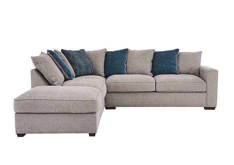 Dune Fabric Corner Pillow Back Sofa With Footstool