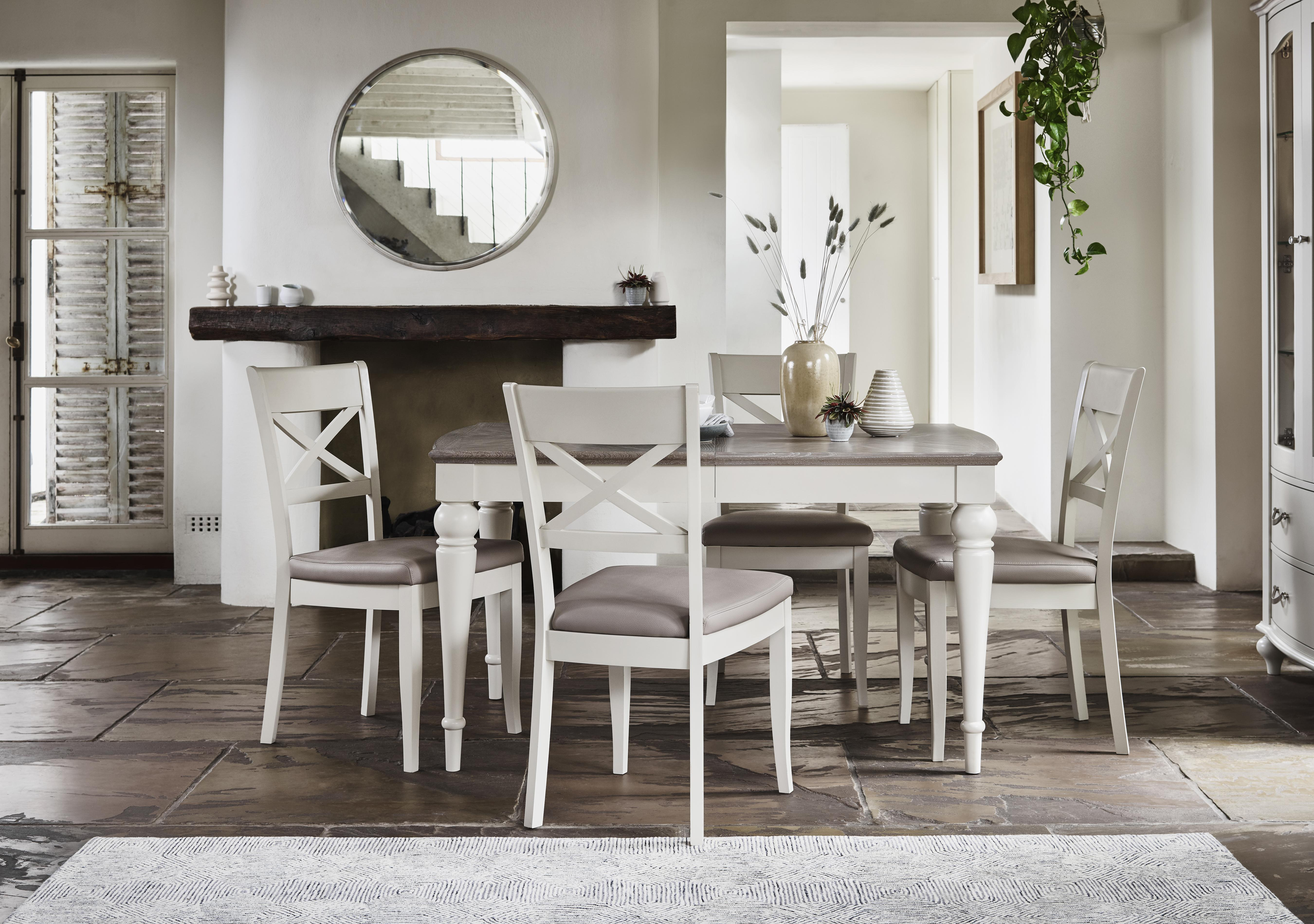 Annecy Extending Dining Table and 4 Faux Leather Cross Back Chairs in on Furniture Village & Oak dining tables u0026 chairs - Furniture Village