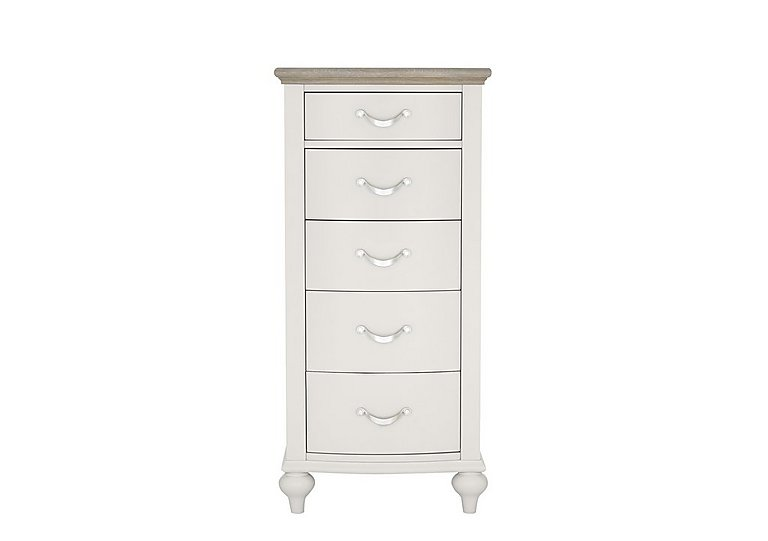 Annecy 5 Drawer Tall Chest in Soft Grey And Grey Washed Oak on Furniture Village