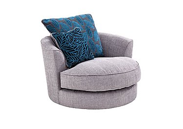 Dune Fabric Swivel Chair in Barley Silver All Over Dk Feet on Furniture Village