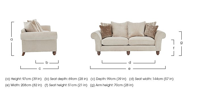 Lancaster 3 Seater Fabric Pillow Back Sofa in  on Furniture Village