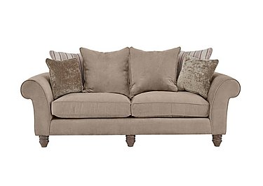 Lancaster 3 Seater Fabric Pillow Back Sofa in Sherlock Plain Mink Dk Ft on Furniture Village