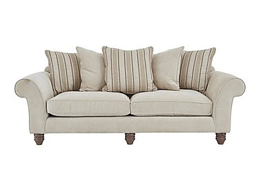 Lancaster 4 Seater Fabric Pillow Back Sofa in Sherlock Plain Pearl Dk Ft on Furniture Village