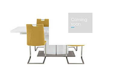 Grande White Extending Table and 4 Chairs in Mustard on Furniture Village