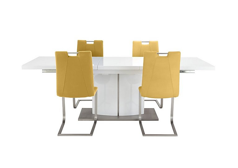 Grande White Extending Table and 4 Chairs - Furniture Village