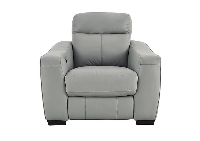 Cressida Leather Recliner Armchair in Bv-946b Silver Grey on Furniture Village