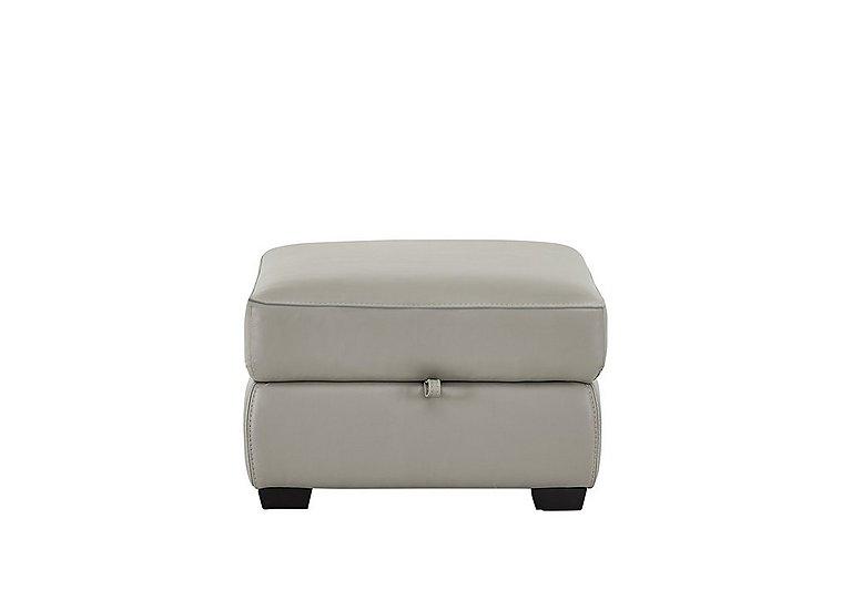 Cressida Leather Storage Footstool in Bv-946b Silver Grey on Furniture Village