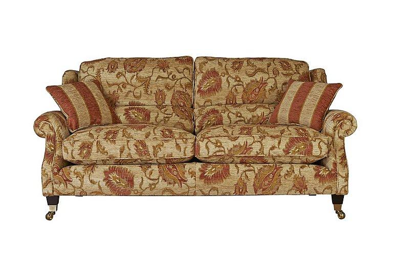 Henley Large 2 Seater Fabric Sofa in 338-54 Cuba Stripe Sand Claret on Furniture Village