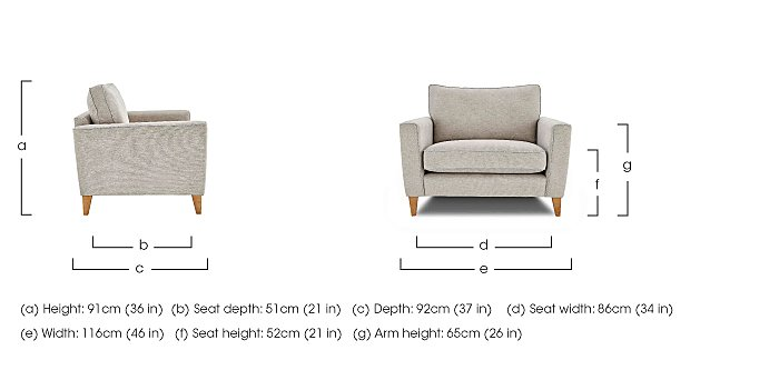 Copenhagen Fabric Snuggler Armchair in  on Furniture Village