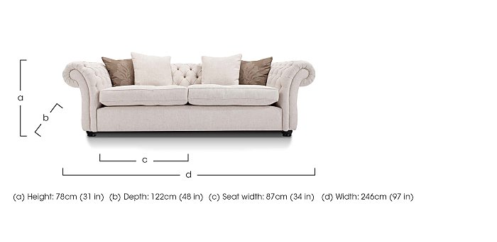 Langham Place 3 Seater Fabric Sofa in  on Furniture Village