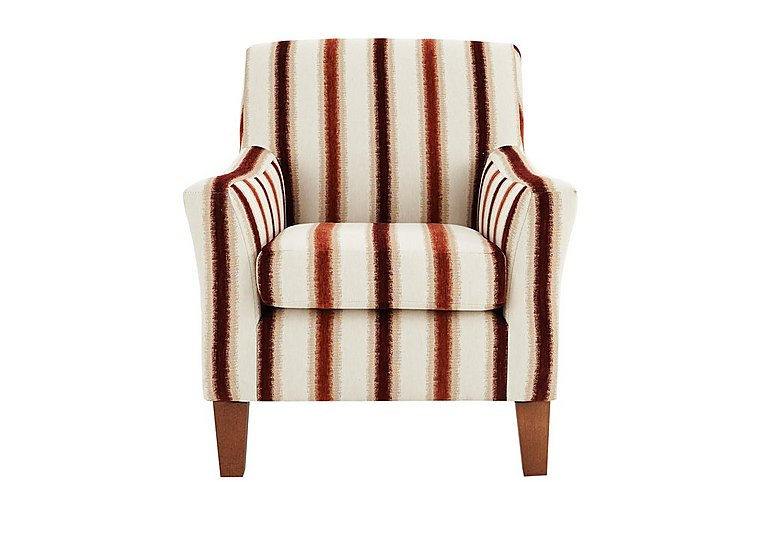 Las Vegas Fabric Accent Chair in Toledo Stripe Cranberry- Light on Furniture Village