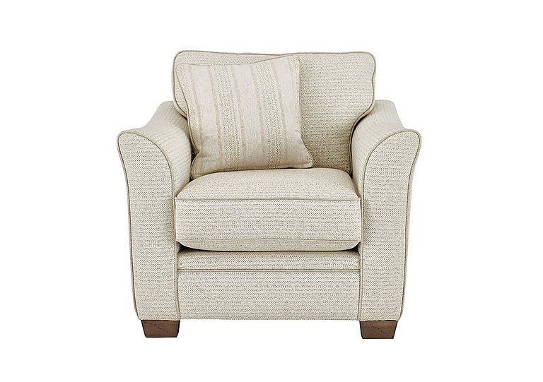 Esther Fabric Armchair in Est Stripe Ivory Dark Feet on Furniture Village