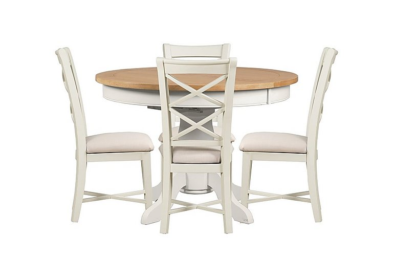 Arles round extending dining table with 4 chairs for Off white round table
