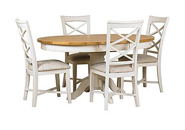 Arles Round Extending Dining Table with 4 Chairs in Off-White With Script Seat on Furniture Village