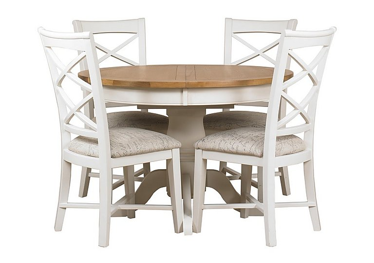 Superbe Arles Round Extending Dining Table With 4 Chairs