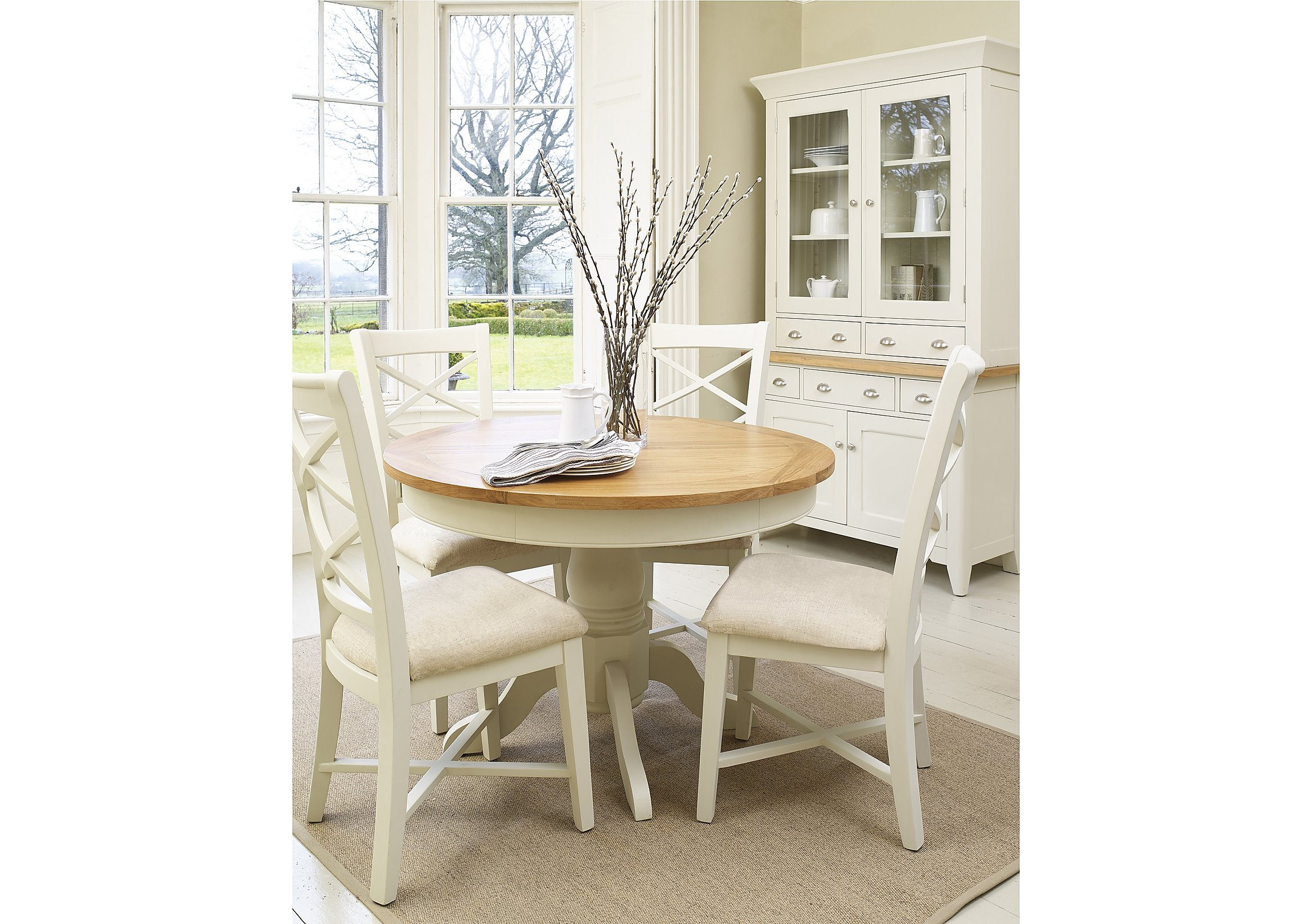 Arles Round Extending Dining Table with 4 Chairs - Furniture Village