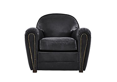 Camden Market Leather Armchair in Antique Black Ao on Furniture Village