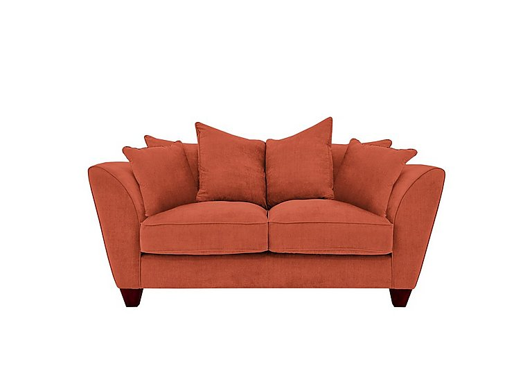 Tangier 2 Seater Fabric Pillow Back Sofa in Cosmo Spice - Dark Feet on Furniture Village