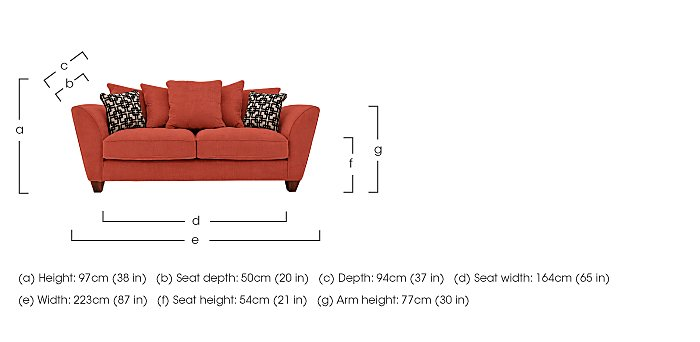 Tangier 3 Seater Fabric Pillow Back Sofa in  on Furniture Village