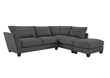 Tangier Fabric Corner Sofa in Grace Pewter - Dark Feet on Furniture Village