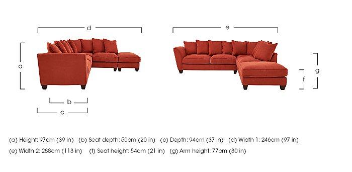 Tangier Fabric Pillow Back Corner Sofa in  on Furniture Village