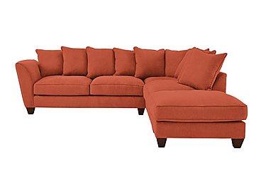 Tangier Fabric Pillow Back Corner Sofa in Cosmo Spice - Dark Feet on Furniture Village