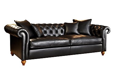 Curzon 4 Seater Leather Sofa in Palazzo Black on Furniture Village