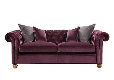 Downton Small 3 Seater Sofa in Brianza Velvet Aubergine on Furniture Village