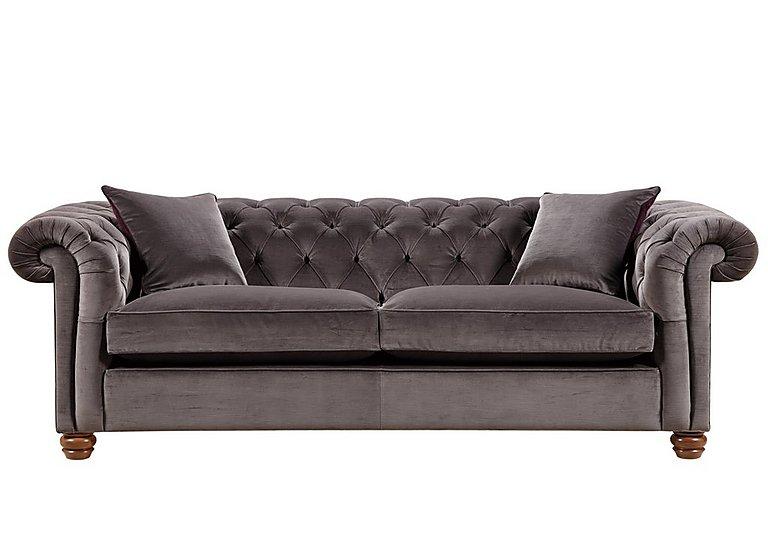 Downton 3 Seater Fabric Sofa in Brianza Velvet Mole on Furniture Village