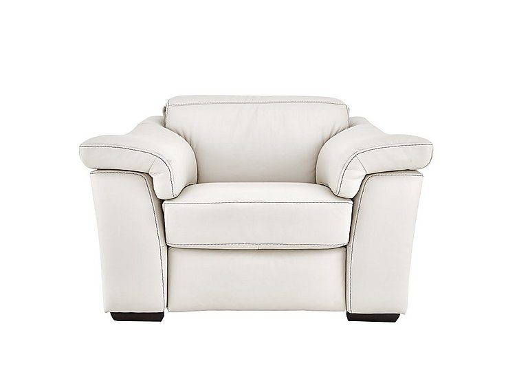 Sensor Leather Power Recliner Love Seat - Only One Left! in Denver 10 Bl White on Furniture Village