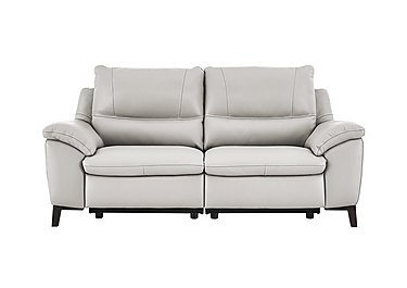 Puglia 2 Seater Leather Recliner Sofa in Phoenix15g3 Lighttaupe Cswhite on Furniture Village
