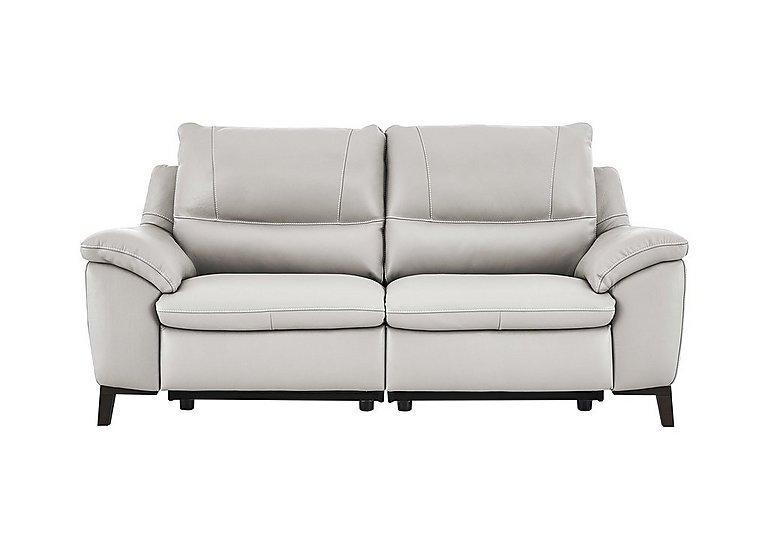 Puglia 2.5 Seater Leather Recliner Sofa in Phoenix15g3 Lighttaupe Cswhite on Furniture Village