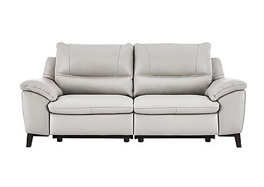 Puglia 3 Seater Leather Recliner Sofa in Phoenix15g3 Lighttaupe Cswhite on Furniture Village