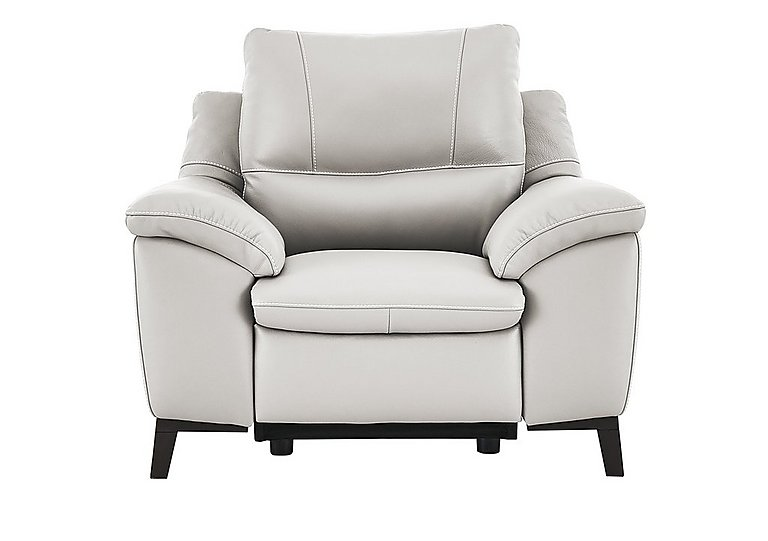 Puglia Leather Recliner Armchair in Phoenix15g3 Lighttaupe Cswhite on Furniture Village