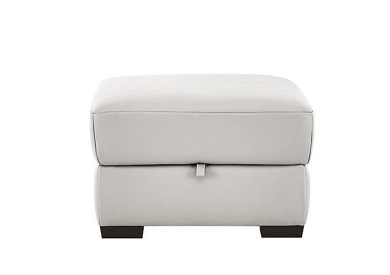 Puglia Leather Storage Footstool in Phoenix15g3 Lighttaupe Cswhite on Furniture Village