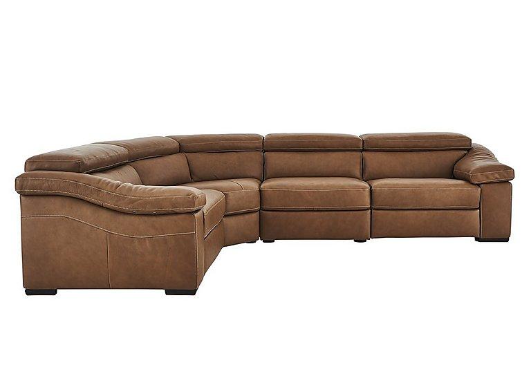 Sanremo Leather Corner Recliner Sofa in Dc20jr Rawhide Camel Cs Hemp on Furniture Village