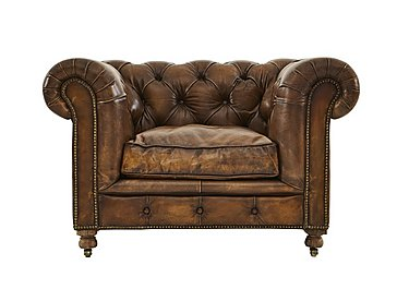 Kingston Mews Leather Armchair in Old England Coffee Wo on Furniture Village