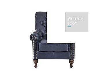Cuba Leather Armchair in Dutch Blue Stud Copper on Furniture Village
