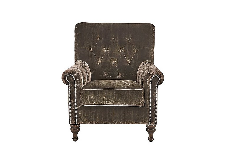 Cuba Fabric Armchair in Milliner Olive Stud Pewter on Furniture Village