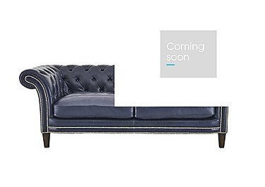 Aruba 2 Seater Leather Sofa in Dutch Blue Pewter Stud Dk on Furniture Village