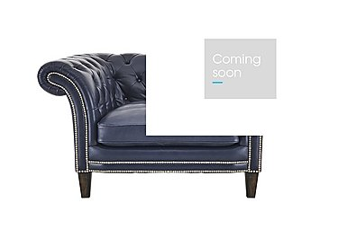 Aruba Leather Snuggler Armchair in Dutch Blue Pewter Stud Dk on Furniture Village