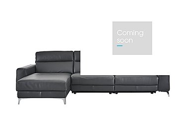 Livorno Leather Recliner Corner Chaise in 20ji Antracite Cs Light Grey on Furniture Village