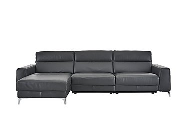 Livorno Leather Recliner Corner Chaise in 20ji Antracite Cs Light Grey on Furniture Village