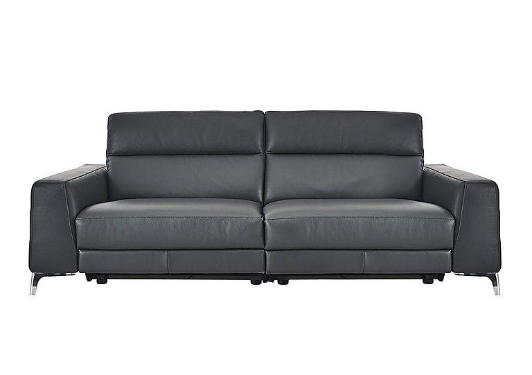 Livorno 3 Seater Leather Recliner Sofa in 20ji Antracite Cs Light Grey on Furniture Village